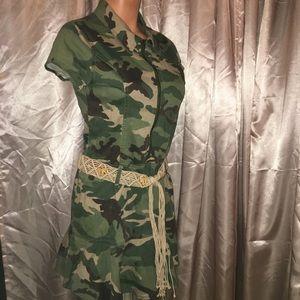 Vintage Camouflage Denim Jumper mini zip Dress L
